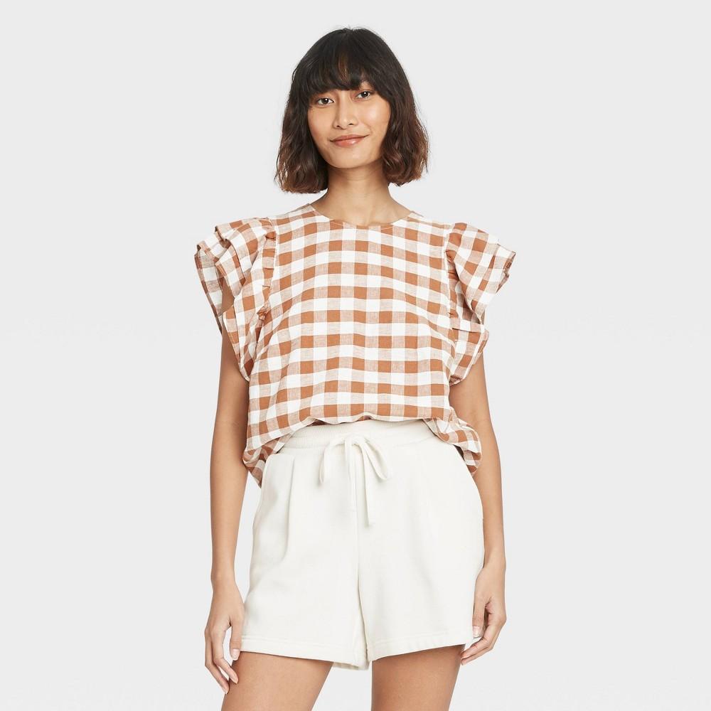 Women 39 S Gingham Checks Ruffle Short Sleeve Linen Top A New Day 8482 Brown Xs
