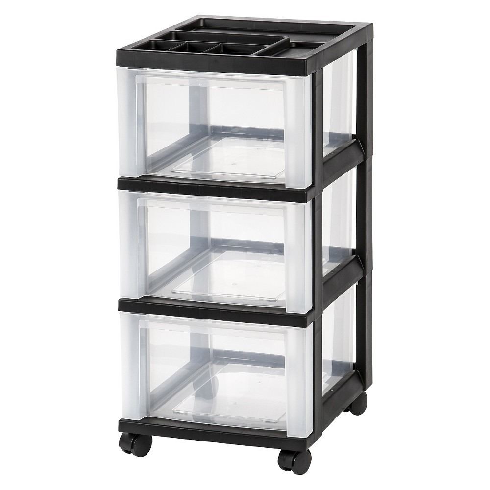 Image of IRIS 3 Drawer Rolling Storage Cart, Black