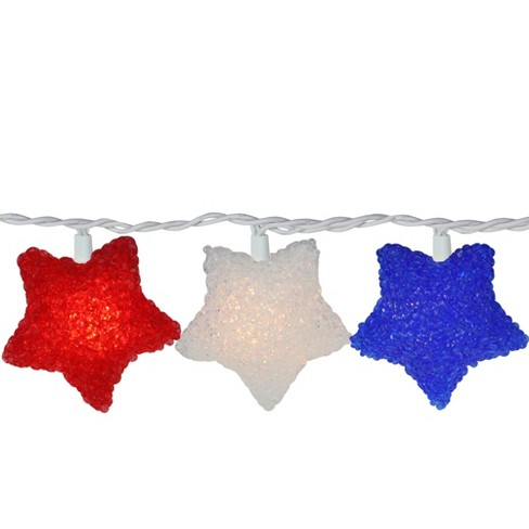 Northlight 10ct Patriotic 4th of July Star Shaped Outdoor String Lights - 6' White Wire - image 1 of 2
