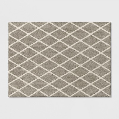 Warm Gray Diamond Tufted and Hooked Washable Accent Rug 4'X5'6  - Threshold™