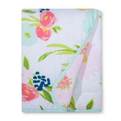 Jersey Knit Reversible Baby Blanket Floral - Cloud Island™ Pink