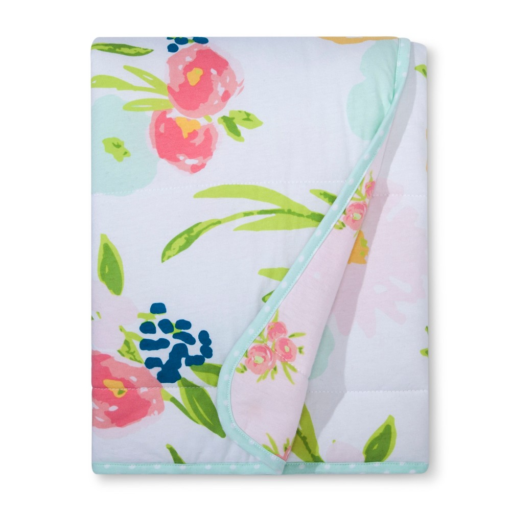 Jersey Knit Reversible Baby Blanket Floral Cloud Island 8482 Pink