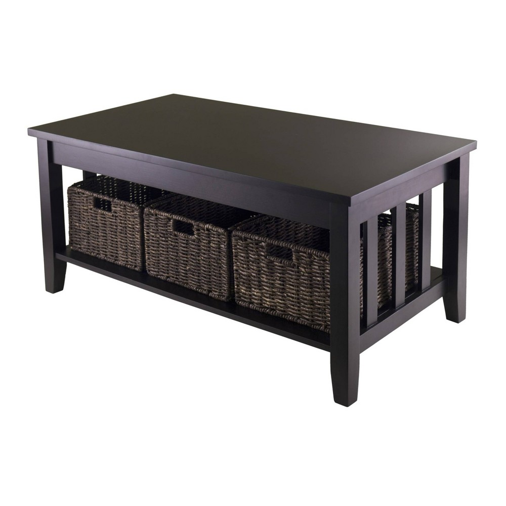 Morris Coffee Table with Baskets - Espresso, Chocolate - Winsome, Espresso Brown
