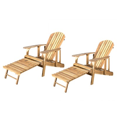 Hayle 2pk Wood Reclining Adirondack Chair with Footrest - Christopher Knight Home