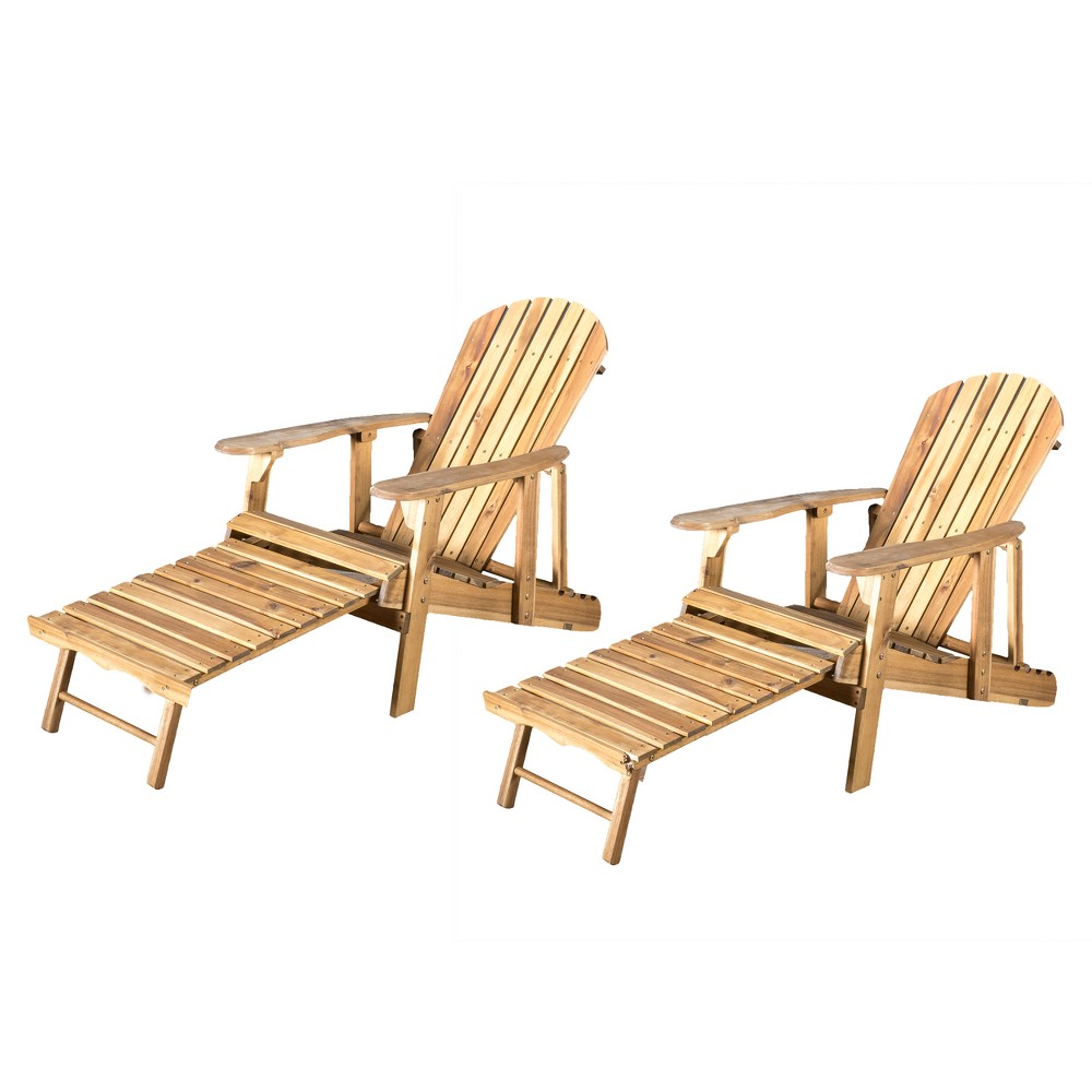 Hayle 2pk Wood Reclining Adirondack Chair with Footrest - Natural - Christopher Knight Home