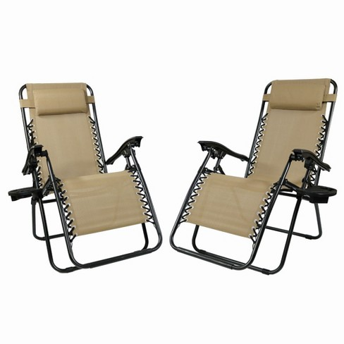 Zero Gravity Lounge Chair with Pillow and Cup Holder - Set of 2 - Khaki - Sunnydaze Decor - image 1 of 6
