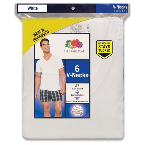 113b018862d Fruit Of The Loom Men s 6pk V-Neck T-Shirt - White   Target