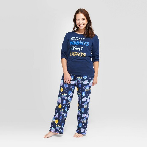 Women's Hanukkah Pajama Set - Wondershop™ Navy - image 1 of 3