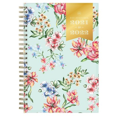 "2021-22 Academic Planner 8""x5"" Clear Pocket Cover Weekly/Monthly Wirebound Tulip Garden Mint - Day Designer"