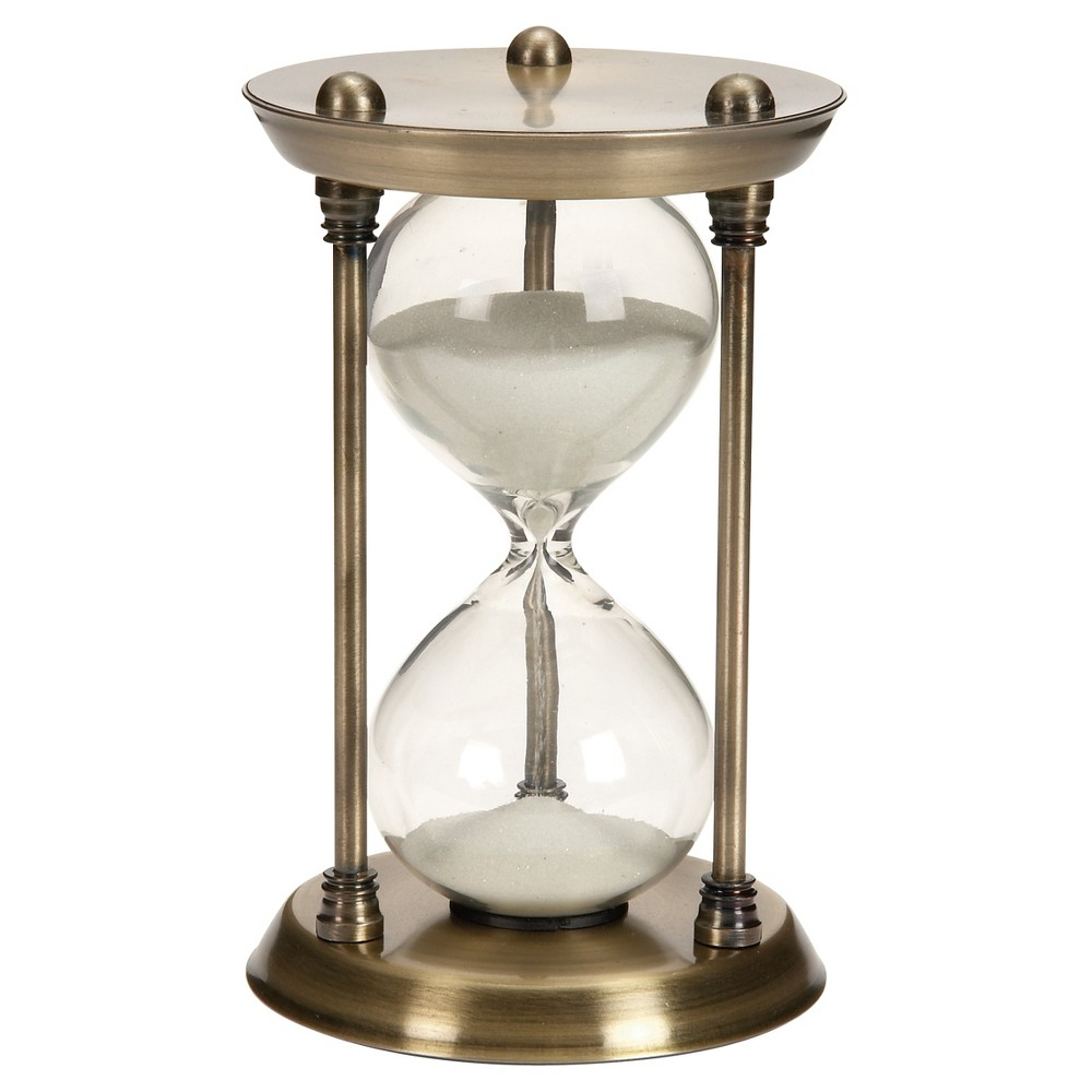 Classic Elegance Rustic Iron and Glass 15-Minute Sand Timer Hourglass (7) - Olivia & May, Brass