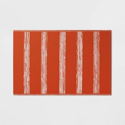 4' x 6' Patio Mat Deep Orange Stripe - Room Essentials™