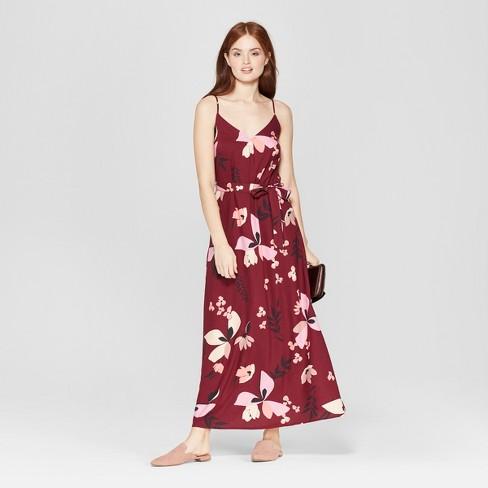79ea352a45 Women s Floral Print Sleeveless Maxi Dress - A New Day™ Burgundy ...