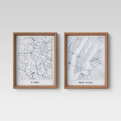"(Set of 2)16"" x 20"" New York and Paris Framed Maps - Threshold™"