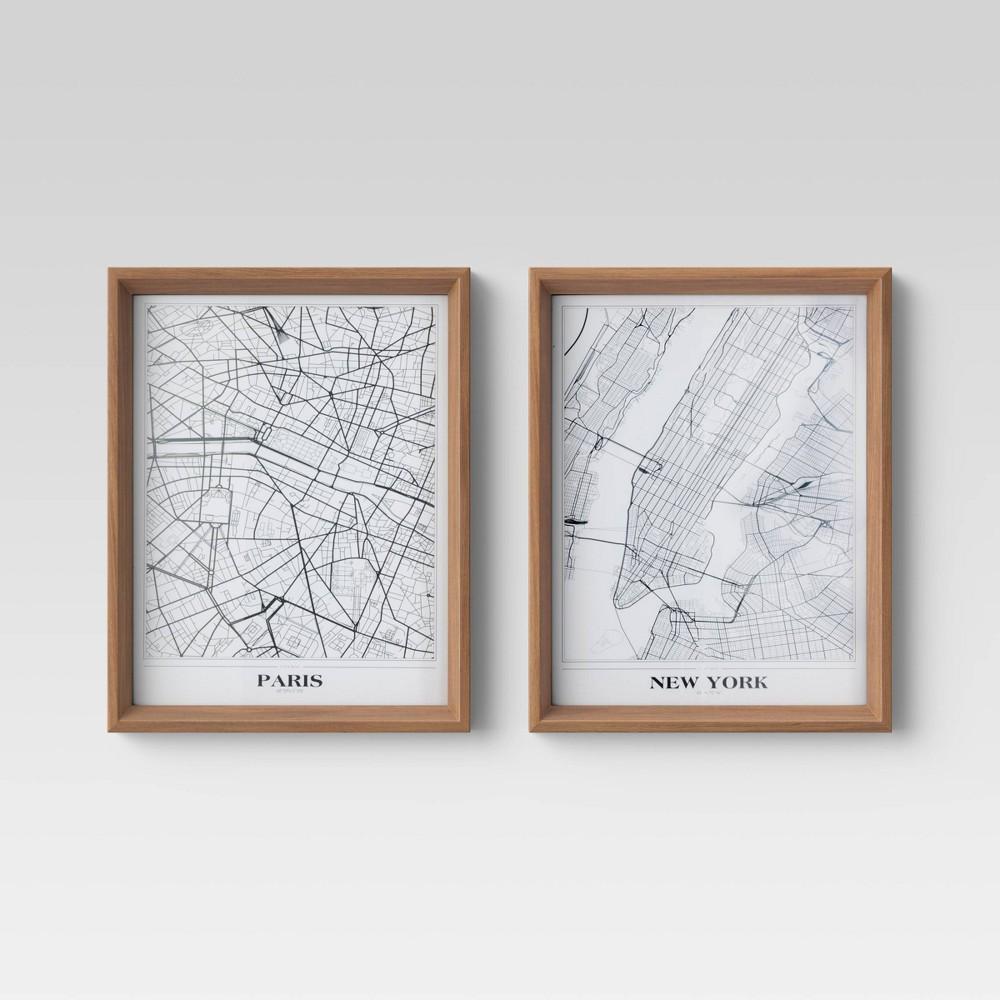 Set Of 2 16 34 X 20 34 New York And Paris Framed Maps Threshold 8482