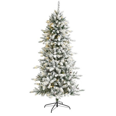 6ft Nearly Natural Pre-Lit LED Flocked Livingston Fir with Pinecones Artificial Christmas Tree Clear Lights