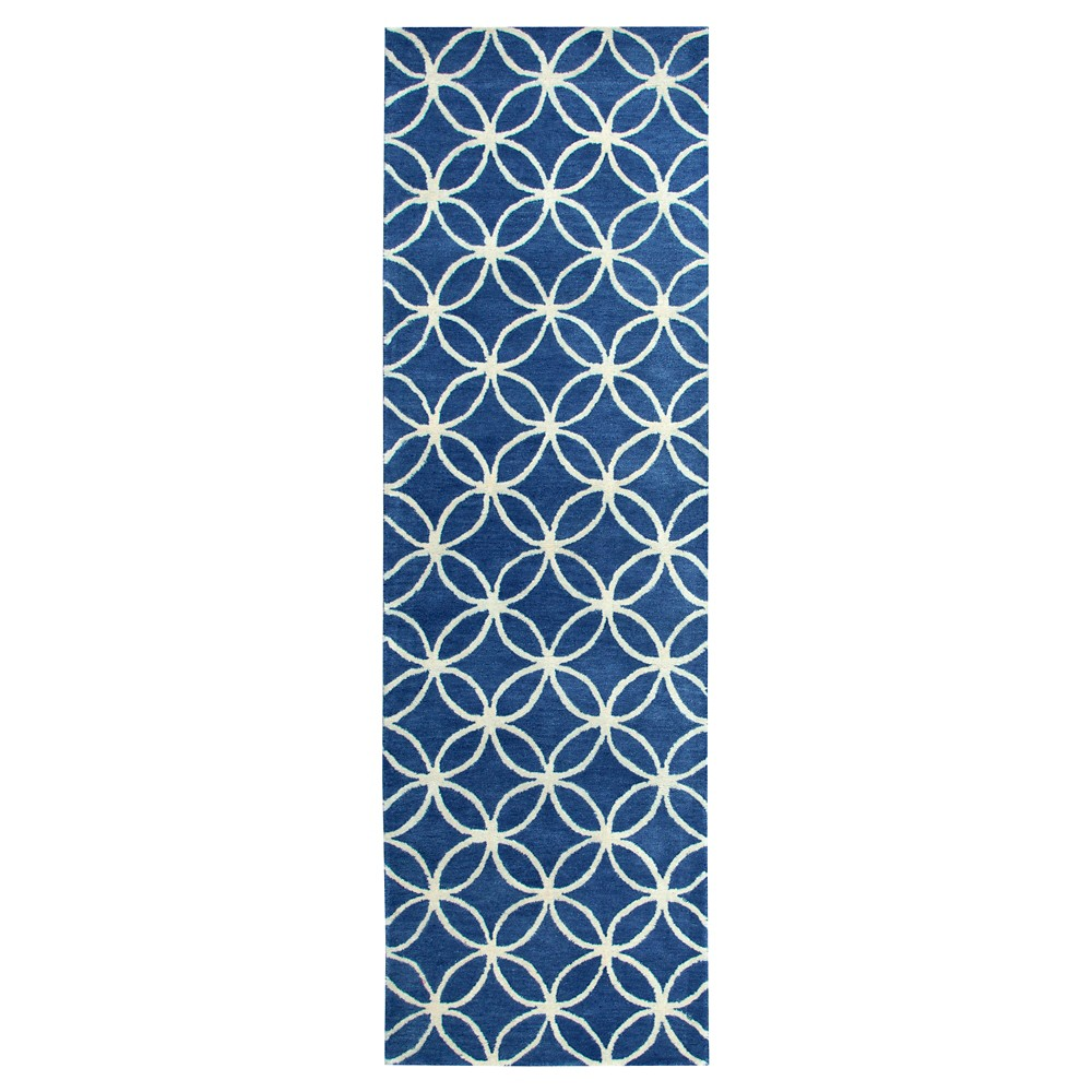 "Image of ""2'6""""X8' Geometric Runner Blue - Rizzy Home, Size: 2'6""""X8' RUNNER, Blue White"""