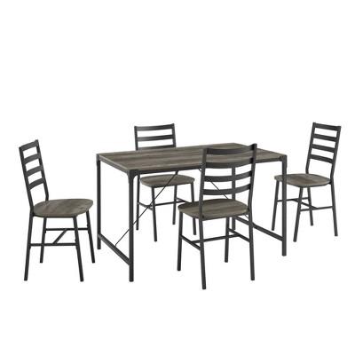 5pc Industrial Angle Iron Dining Set Gray Wash - Saracina Home
