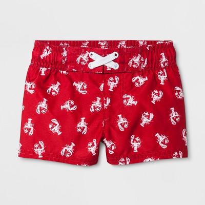 Baby Boys' Lobster Swim Trunks - Cat & Jack™ Red 3-6M