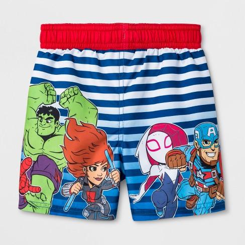80b766bb536f9 Toddler Boys' Marvel Avengers Swim Trunks - Blue : Target