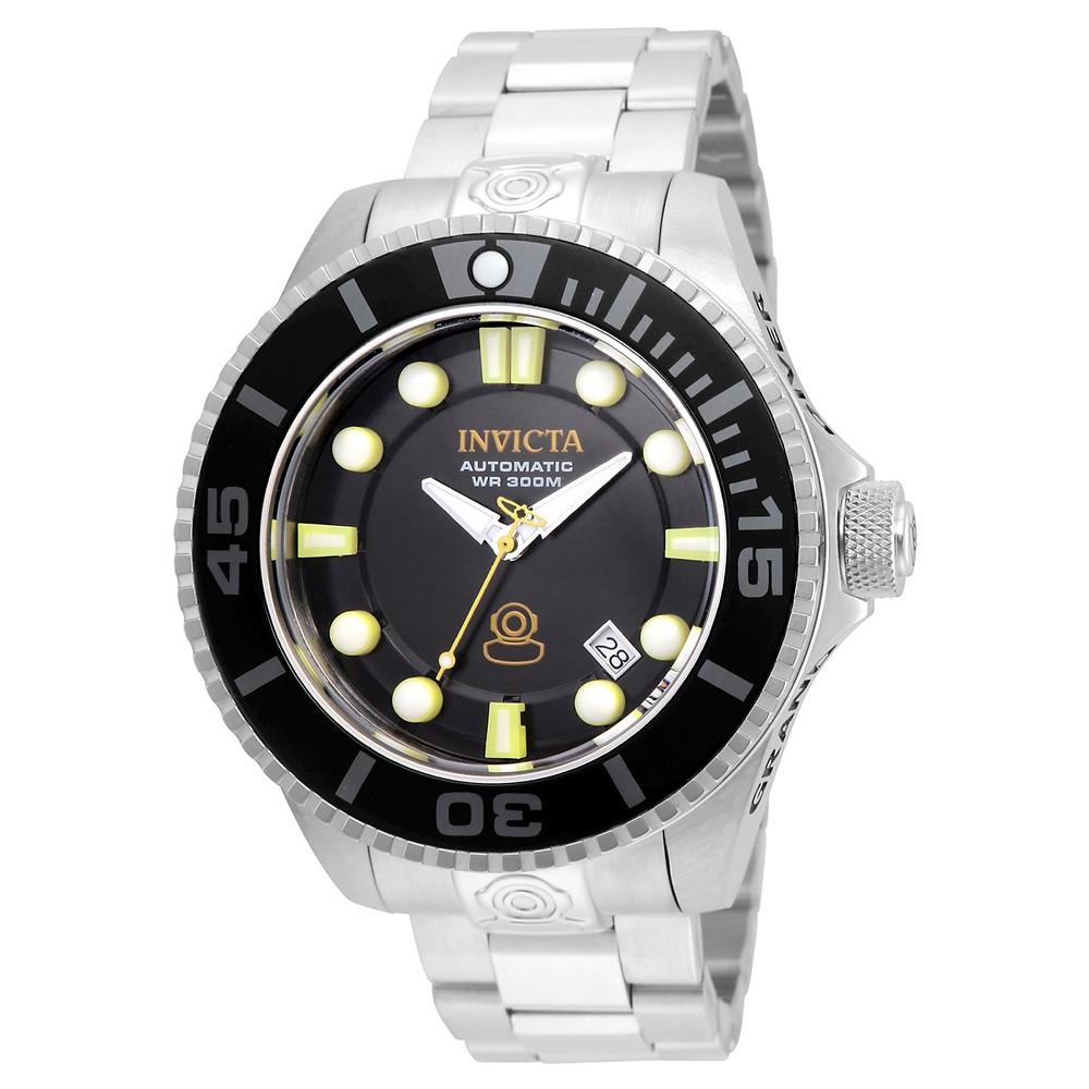 Men's Invicta 19797 Pro Diver Automatic 3 Hand Black Dial Link Watch - Silver