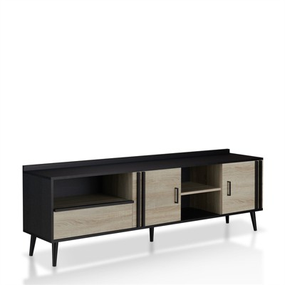 Trubico Mid-Century Wood 70-Inch TV Stand in Black - Furniture of America