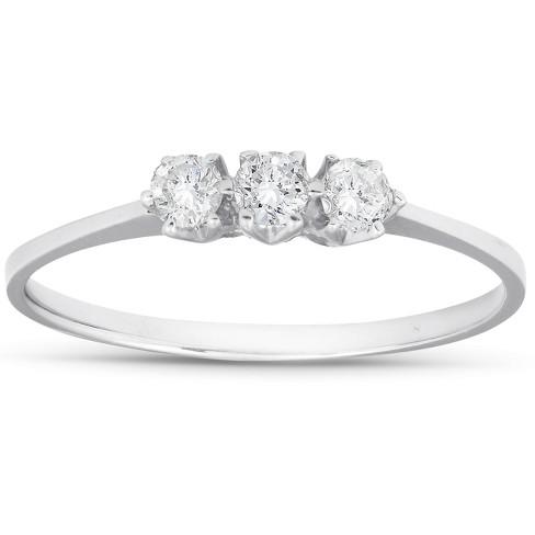 Pompeii3 1/5ct 3-Stone Diamond Promise Ring 14K White Gold - image 1 of 4