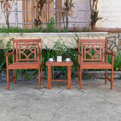 Malibu 3pc Wood Outdoor Patio Conversation Set - Tan - Vifah