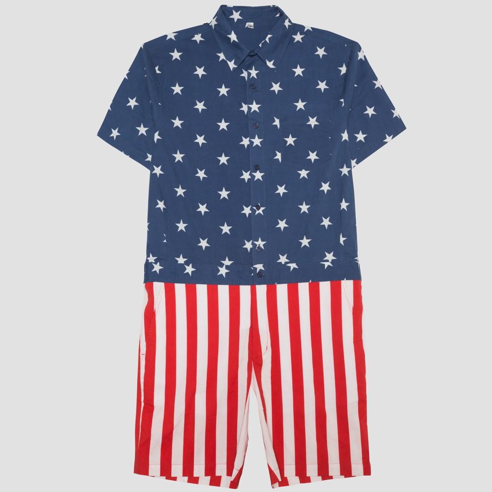 Well Worn Men's Americana Romper - Red/Blue/White S, Multicolored