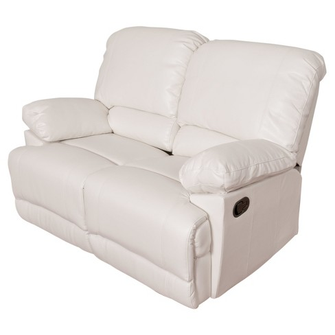 Lea White Bonded Leather Reclining Loveseat Corliving Target