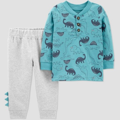 Baby Boys' Dino 2pc Top & Bottom Set - Just One You® made by carter's Blue 6M