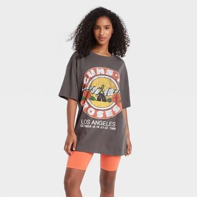 Women's Guns N Roses Short Sleeve Graphic T-Shirt Dress - Gray