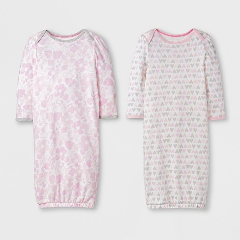 Baby Girls' 2p Print Gowns - Cloud Island™ White/Pink 0-6M - image 1 of 1