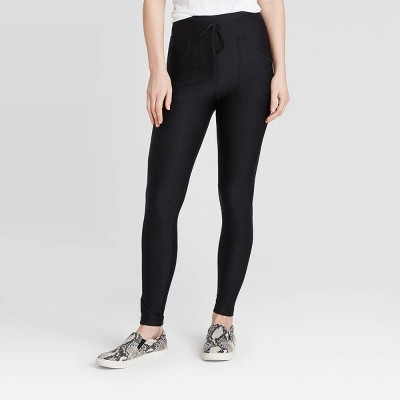 Women's Drawstring High-Waist Lounge Leggings - A New Day™ Black
