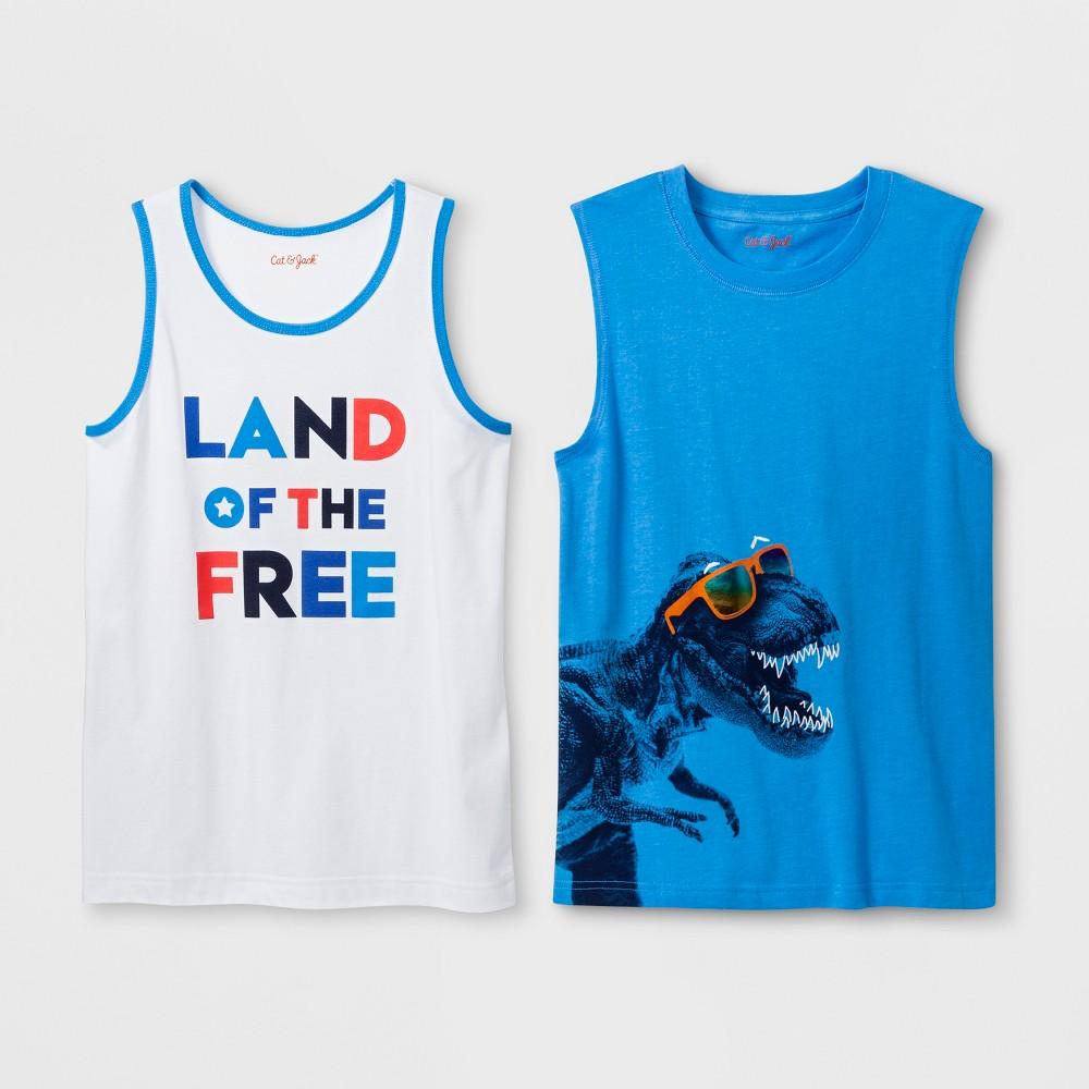 Boys' 2pk Sleeveless Graphic T-Shirt - Cat & Jack White/Blue Xxl