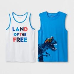 517134444 Boys' 2pk Sleeveless Graphic T-Shirt - Cat & Jack™ White/Blue