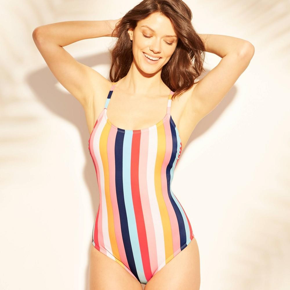 Women's Lace-Up One Piece Swimsuit - Kona Sol Stripe XS, Multicolored