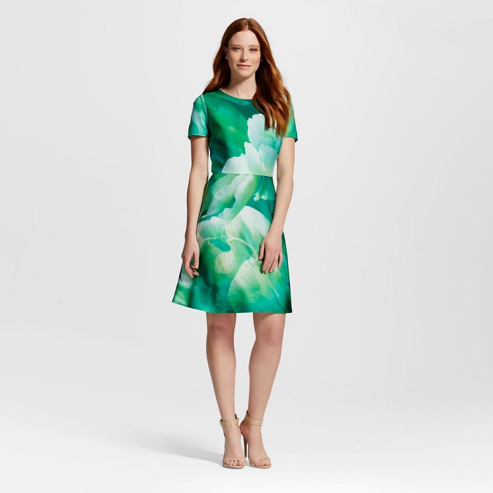Women's Scuba Floral Fit and Flare Dress Green 10 - Julia, Multi-Colored