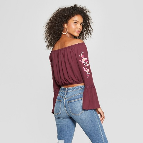 44322dcf52071 Women s Long Sleeve Embroidered Sleeve Off The Shoulder Top - Xhilaration™  Fig XL   Target