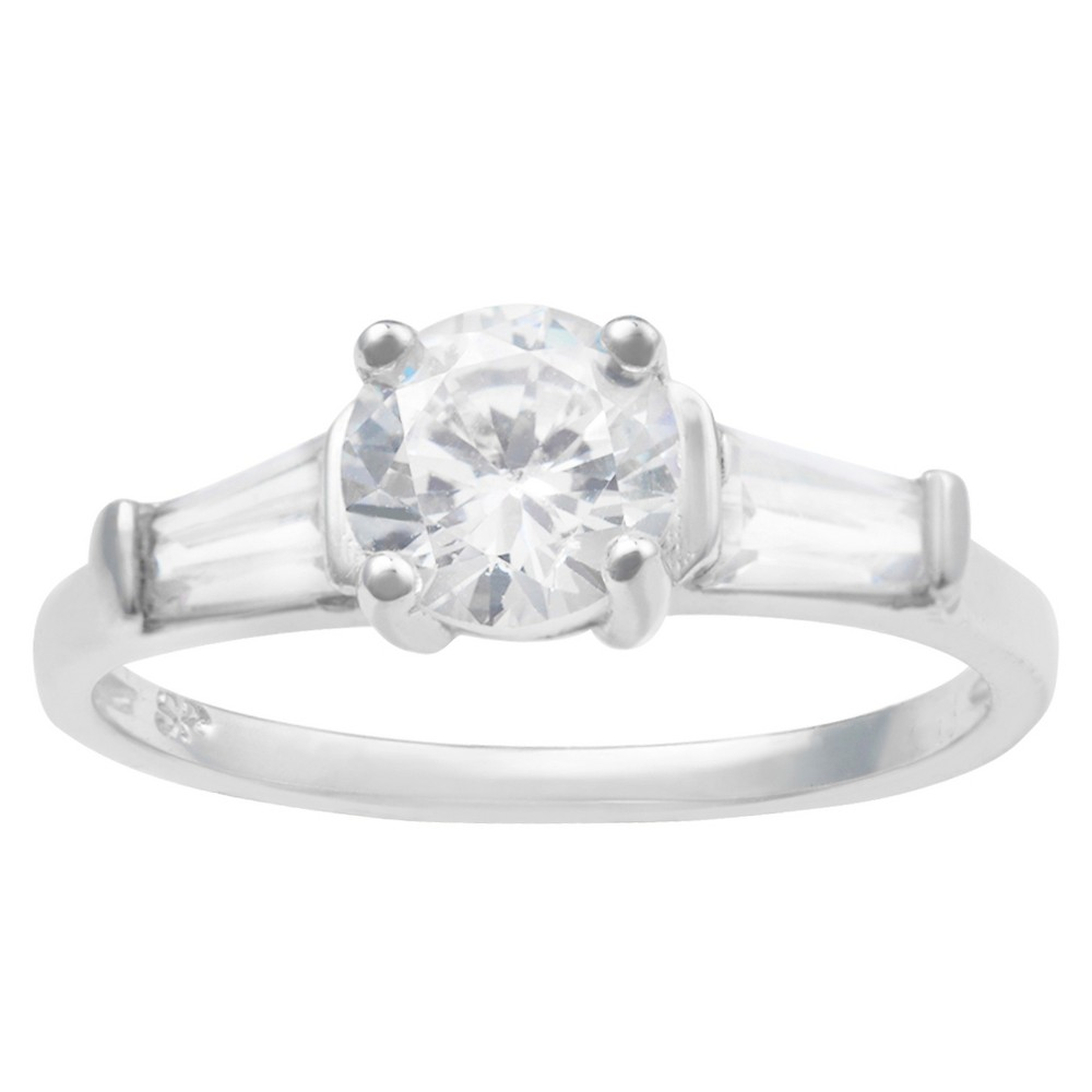 1/4 CT. T.W. Round-cut Cubic Zirconia Engagement Basket Set Ring in Sterling Silver - Silver, 7, Girl's