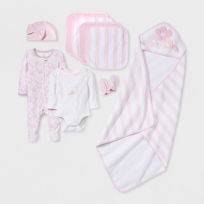 Baby Girls' 10pc  Take Me Home  Layette & Bath Set - Cloud Island™ Pink Newborn