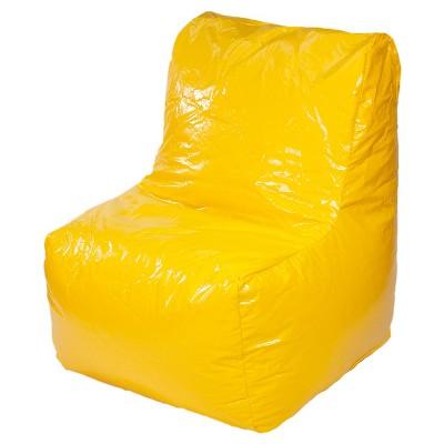 Sectional Wet Look Vinyl Bean Bag Chair Yellow Gold Medal