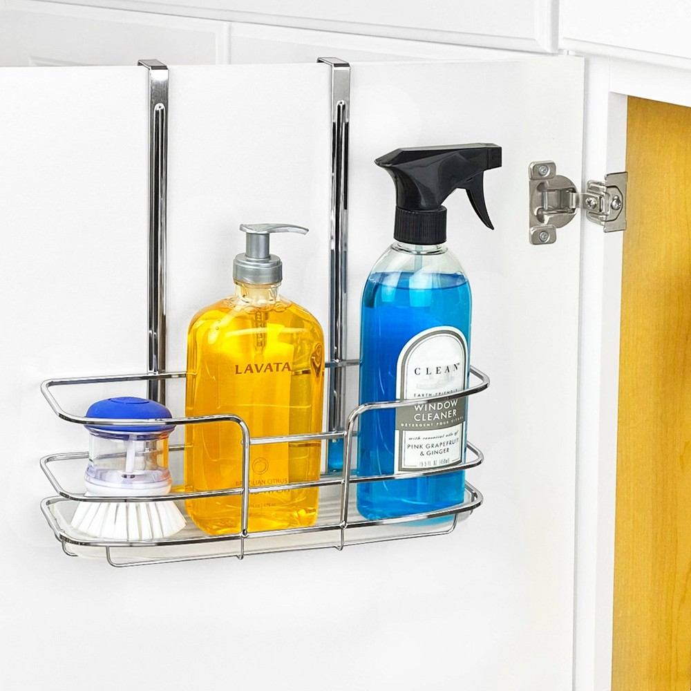 Lynk Over Cabinet Door Organizer Tall Shelf With Molded Tray Chrome