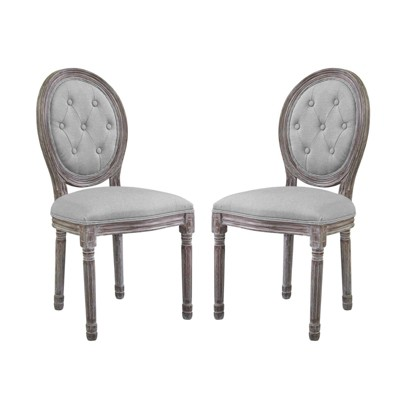 Set of 2 Arise Vintage French Dining Side Chair Light Gray - Modway