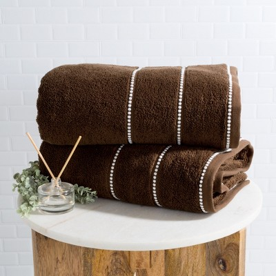 2pc Luxury Cotton Bath Towels Sets Chocolate - Yorkshire Home