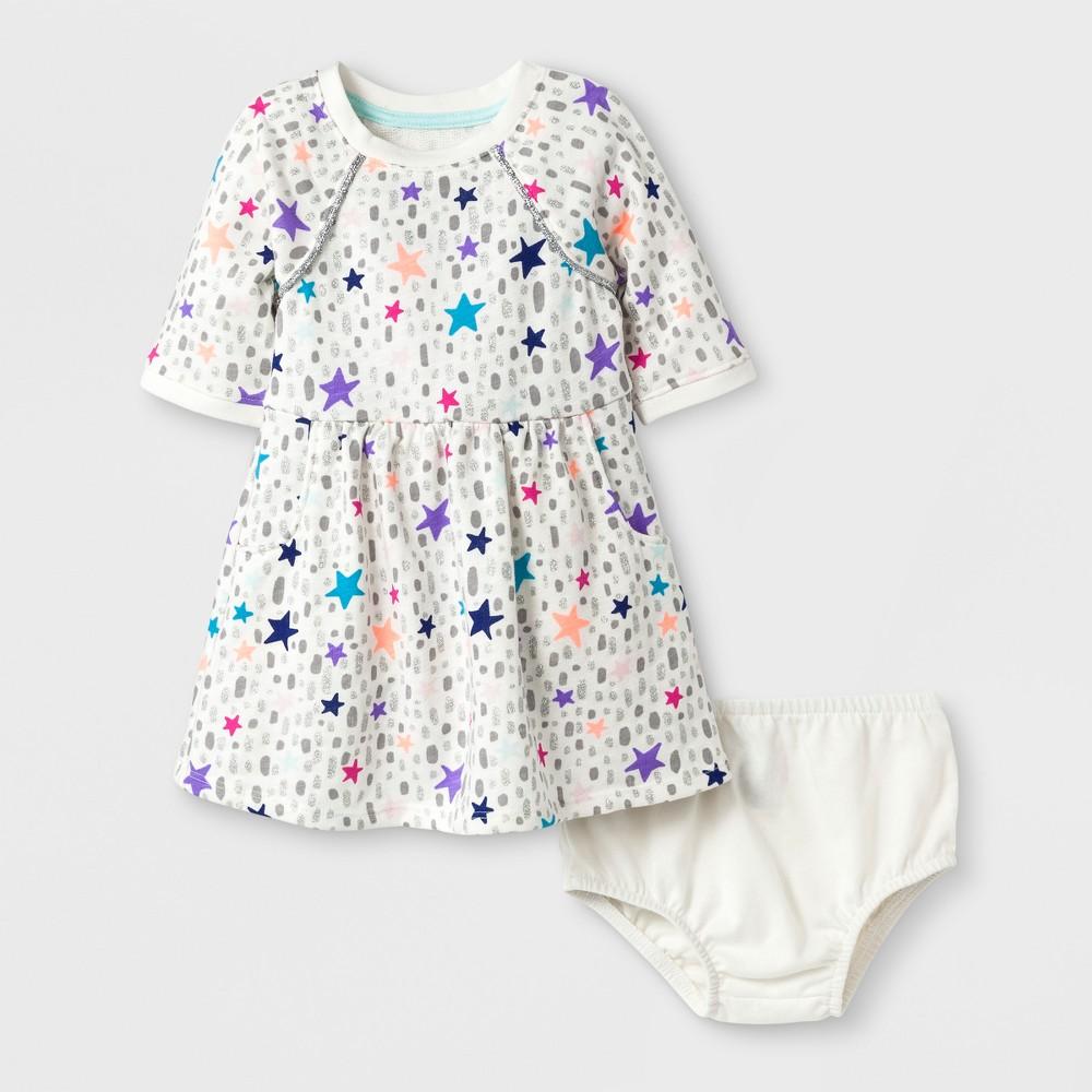 Toddler Girls' Stars French Terry Dress - Cat & Jack Almond Cream 5T