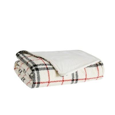"50""x60"" Popcorn Plaid Plush Throw Blanket Charcoal/Gray - London Fog"