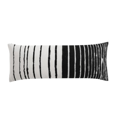 Kenneth Cole New York Faux Wool Throw Pillow, Yarn Dyed, Ivory Black, 14X36