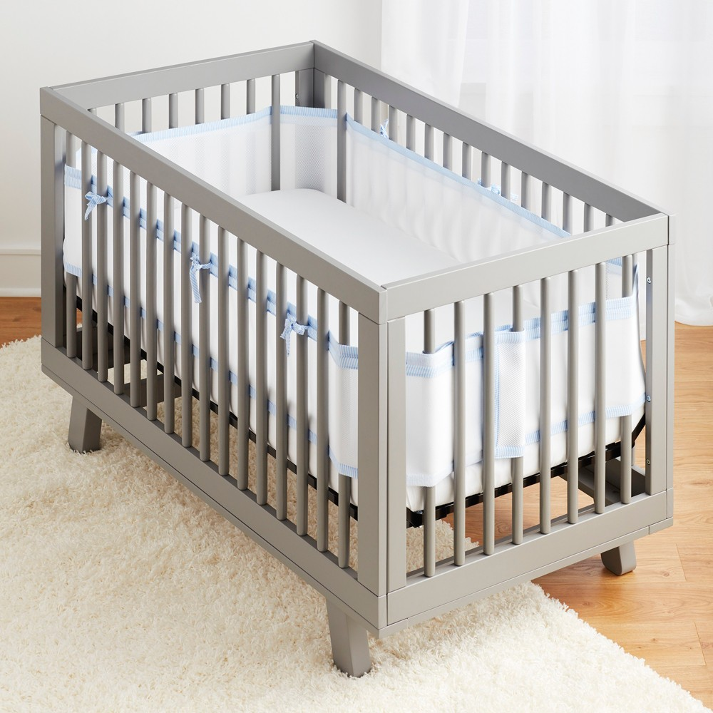 Image of BreathableBaby Mesh Crib Liner - Seersucker Blue