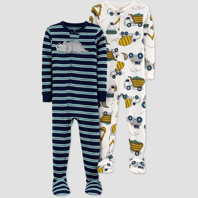 Baby Boys' 2pk Construction Footed Pajama - Just One You® made by carter's White/Yellow/Navy