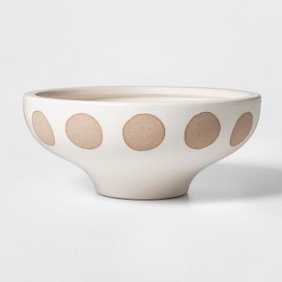 11.8  x 5.1  Earthenware Circle Bowl Cream/Brown - Project 62™
